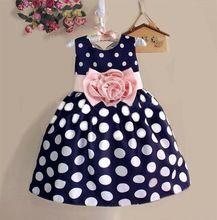 2017 Novo Estilo de Crianças Da Criança Meninas Princesa Vestido Sem Mangas de Bolinhas Bowknot Vestido! 2 a qualidade Superior de cor azul marinho branco(China (Mainland))