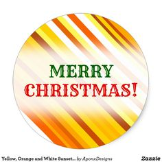 Yellow Orange and White Sunset-Inspired Stripes Classic Round Sticker - christmas stickers xmas eve custom holiday merry christmas Merry Christmas, Xmas, Christmas Stickers, Round Stickers, Orange, Yellow, Stripes, Sunset, Inspired