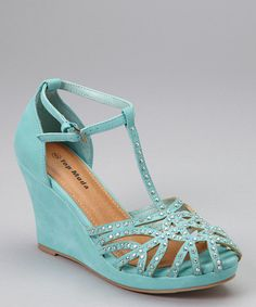 blue cage toe wedge shoe