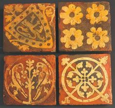 """effervescentaardvark:  Inlaid tiles from Tintern Abbey, dating from the later 13th century.source: """"Builders and Decorators: Medieval Craftesmen in Wales"""" CADW, 2008. ISBN 9781857602524"""