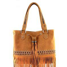 Montana West Handbag Tribal Fringe Collection Vegan Leather Tassles Drawstrings #MontanaWest #ShoulderBag