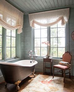 """Sometimes the most important thing in a whole day is the rest we take between two deep breaths."" —Etty Hillesum • • • We would love to settle down for some solitude in a bath as beautiful as this! How are you finding peace this weekend? Photography: @marcy_simpson Blue Ridge Mountains, Victoria Magazine, Bathroom Interior, Bathroom Ideas, Bathroom Inspo, Bathroom Designs, Beautiful Bathrooms, Clawfoot Bathtub, Asheville"