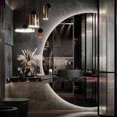 "DelightFULL · Unique Lamps on Instagram: ""#inspiration: Gorgeous dark #bathroom By @areese.design! 🖤 Via @mymodern.interior . . . . #delightfull #INTERIORDESIGN…"" Bathroom Design Luxury, Luxury Interior Design, Best Interior, Modern Kids Bedroom, Modern Bathroom Decor, Bathroom Ideas, Dream Home Design, House Design, Modern Powder Rooms"