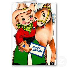 Little Cowboy and Pony - Retro Happy Birthday Card