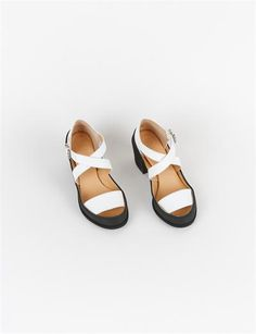 MM6 Canvas Rubber Crossover Sandal - Black/White