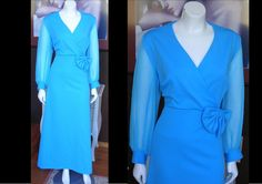 Vintage 1960s Bright Blue Party Cocktail Dress Sheer Sleeves Rhinestone Buttons Mad Men X LARGE 2X LARGE by WestCoastVintageRSL, $54.00