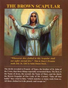 """The full promise of Our Lady of Mount Carmel to Saint Simon Stock July 1251 """"Accept this Scapular. It shall be a sign of salvation, a… Catholic Religion, Catholic Quotes, Catholic Prayers, Novena Prayers, Catholic Saints, Religious Quotes, Blessed Mother Mary, Blessed Virgin Mary, St Simon Stock"""