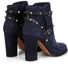 Valentino Rockstud 100mm suede ankle boots ($1,210) ❤ liked on Polyvore featuring shoes, boots, ankle booties, block-heel ankle boots, suede ankle bootie, navy blue booties, suede booties and block heel booties