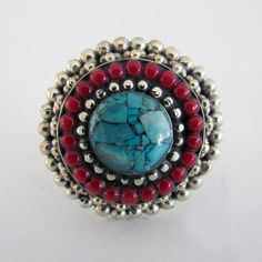 Nepalese coral and turquoise ring - www.lostlover.com.au