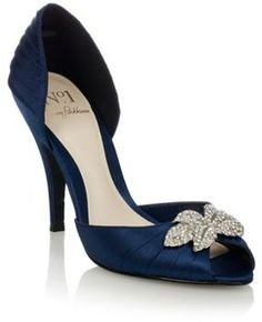 Navy pleated satin high heels