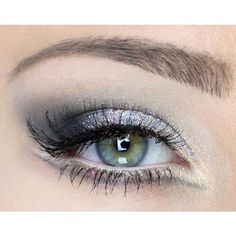 makeup-madness-26. Sparkly silver with gray eyeshadow. Some black eye liner and mascara, and tada, beautiful!