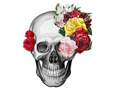 """""""My art is a cocktail of reality, sources and imagination, infused with elegance and a sense of humor """". Very cool skull with floral details designed by RococcoLA."""