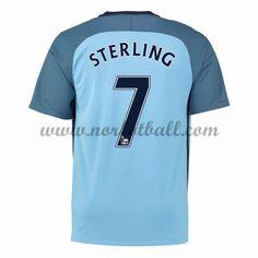Billige Fotballdrakter Manchester City 2016-17 Sterling 7 Hjemme Draktsett Kortermet