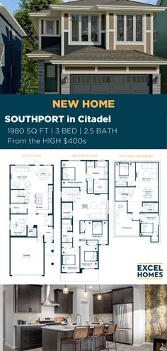 Offering style, function and plenty of natural light, the Southport is a wonderful family home with nearly 2,000 square feet of thoughtful design. You'll love to come home to this new home in one of our new and upcoming communities! Learn more at ExcelHomes.ca #3bedroomhome #familyhome #CalgaryHomeBuilder #AlbertaRealEstate #ExcelHomes 3 Bedroom Home Floor Plans, Small House Floor Plans, Small House Design, Dream Home Design, Build Your House, Building A House, Southport, Luxury Vinyl Plank, Story House