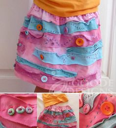 Recycled t-shirt button skirt