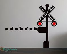Railroad Train Crossing Lights with Arm Children Kids Boys Bedroom Decor Vinyl Wall Art Words Decals Stickers 1593 on Etsy, $34.99