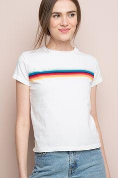 Brandy ♥ Melville | Ali Rainbow Tee - Striped T-Shirts - Clothing