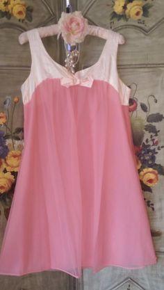 CORAL PEACH Vintage CHIFFON Nighty Nightgown Sweet Lingerie Slip Gown SATIN TRIM #GothamLingerie