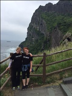 Pam O'Brien in Seogwipo, Jeju-do, South Korea. Pam won second place in the 2016 Traveling T-shirt contest for this photo taken 7,950 miles from the Town of Palm Beach United Way office.