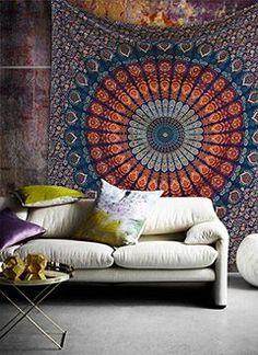 indien hippie Coton Mandala Tapisserie Gypsy traditionnel zodiaque Mandala Jaune Twin Unique astrologie Tapisserie murale suspendu Coton indien Bedspreed Taille 55 x 85