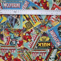 Marvel Comic Book Covers Super Hero Retro Fabric FQ on Etsy, $5.50