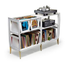 10 incredible record player consoles to reimagine your living space Vinyl Record Display, Record Shelf, Vinyl Record Storage, Record Player Console, Vinyl Record Player, Vinyl Records, Vynil, Muebles Art Deco, Best Interior Paint