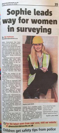 Sophie leads way for women in surveying by Gloucestershire Echo #surveying #surveyingthefuture #notjustforboys #builtbyher #builtbygirls #construction #constructionyouthtrust #womeninstem #equality #ppe #safety