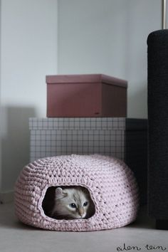 Make a crochet cat cave with Lion Brand Fettuccini! Free pattern by Eilen Tein.