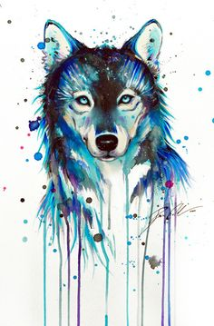 Awesome Painting of a Blue Wolf!