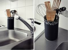 Repurposed tin cans and chalkboard paint.