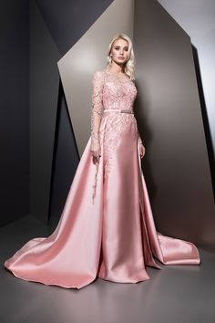 2019 Pink Prom Dresses with Detachable Train Jewel Neck Long Sleeve Appliques Pink Prom Dresses, Spring Dresses, Ball Dresses, Bridal Dresses, Elegant Dresses, Nice Dresses, Prom Dress Couture, Types Of Dresses, Beautiful Gowns