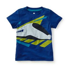 Tea SS16 Carlo's Train Graphic Tee in lazuli | Futurism was an art movement that sought to capture motion and speed through painting and sculpture. The train on this tee is inspired by the work of Futurist painter Carlo Carra. - $22.50