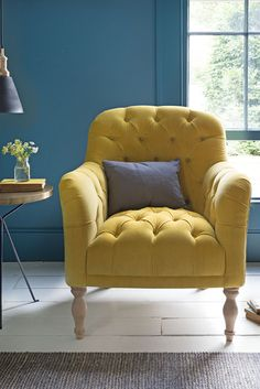 Teal Accent Chairs In Living Room Retro Office Chair, Home Office Chairs, Vintage Dining Chairs, Shabby Chic Table And Chairs, White Plastic Chairs, Yellow Armchair, Yellow Chairs, Pink Sofa, Blue Cushions