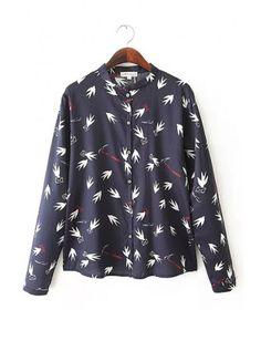 Stylish Black Dove Print Stand Collar Long Sleeve Women Shirt #breakicetrends #fashion
