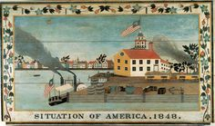 Modern Folk Embroidery Stretched Canvas Print: Situation of America, 1848 by Unknown Artist : - Art Prints, Art Painting, Art Museum, American Folk Art, Naive Art, Art, Primitive Painting, Stretched Canvas Prints, Folk