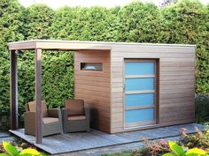 Size x x m Iroko wood very hard unusually weatherproof and … – Garden Design ideas - How to Make Gardening Modern Shed, Modern Tiny House, Backyard Sheds, Backyard Landscaping, Pump House, Small Buildings, Shed Homes, Garden Studio, Diy Shed