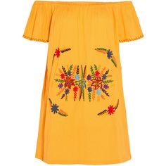 Sensi Studio Off-the-shoulder embroidered cotton mini dress (€175) ❤ liked on Polyvore featuring dresses, vestidos, yellow, yellow flower dress, off shoulder dress, embroidered dress, long-sleeve mini dress and mini dress