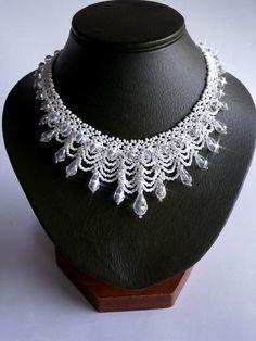White Wedding Necklace Seed Bead Jewelry Bridal by NataliStudio