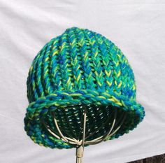 Green multi colored beanie