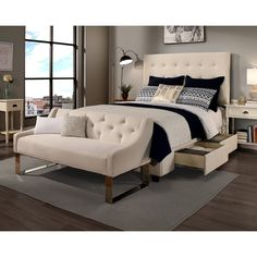 Republic Design House Manhattan King/Cal King-Size Ivory Tufted Storage Bed and Tufted Sofa Bench (Manhattan King/Cal King Headboard and Bench Only) Cream, Size Eastern King