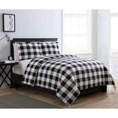 Mainstays Buffalo Plaid 3 Piece Bedding Comforter Set, Multiple Colors and Sizes Available, White Plaid Bedroom, Bedding Master Bedroom, Blue Bedroom, Bedroom Decor, Bedroom Ideas, Plaid Comforter, Comforter Sets, Eddie Bauer, Buffalo Check Pillows