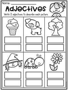 Adjective worksheet for kindergarten, first grade and second grade. Students write 2 words to describe each picture.