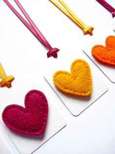 Felt Heart Christmas Gift Tags / Name Tags with Satin Ribbon Ties in Pink, Yellow & Orange (Set of 6)