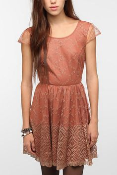 Pins and Needles Metallic Lace Deep V-Back Dress