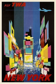 TWA Times Square NYC 1960's Vintage Style Travel Poster - 16x24 #Vintage