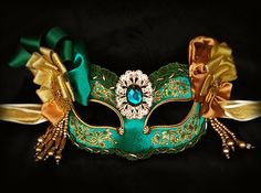 Emerald Green & Gold Masquerade Mask With Various Embellishments -  Venetian Style Beaded Mask - For Masquerade Ball, Prom, Halloween