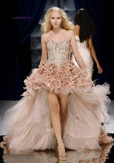 short pink wedding dresses | Fashion Feather Wedding Gown, Wedding Dress, Evening Gown (HS-921)