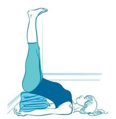 Legs up the wall. Helps you calm down or even go to sleep—placing the legs and heart higher than the head has a sedative effect on the nervous system. Get yourself into this position with a folded blanket under your butt and your lower back. Breathe and relax!