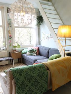 This Dutch Home has Color to Spare   Design*Sponge. Something about this ladder/staircase situation that I am LOVING!