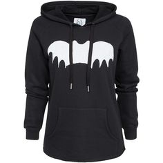 Zoe Karssen Bat Hoodie ($66) ❤ liked on Polyvore featuring tops, hoodies, jackets, sweaters, shirts, jumpers & cardigans, pirate black, womens-fashion, pattern shirts and hooded pullover